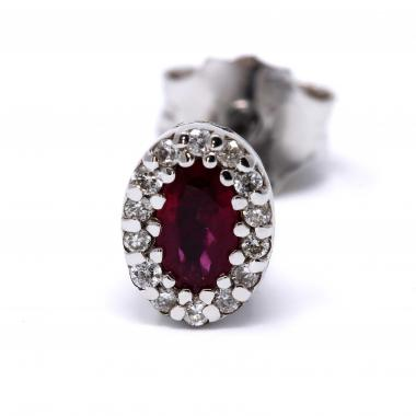 Oval halo ruby and diamond earrings