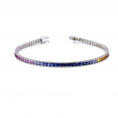 Rainbow Tennis bracelet with colored sapphires